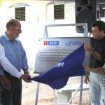 Presidente José Carlos Lyra e o prefeito Cristiano Matheus descerram a placa de inauguração da Escola Sesi Professor Wilton Gama