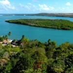 Vista aérea da beleza natural da Barra de São Miguel