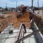 Obra de construção do viaduto no bairro de Jacarecica