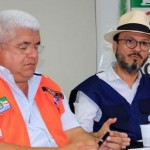 Dinário Lemos, da Defesa Civil Municipal, e Thales Sampaio, geólogo da CPRM, durante coletiva à imprensa