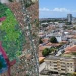Mapa da área de abrangência do impacto da exploração do sal-gema sobre os bairros Pinheiro, Mutange e Bebedouro