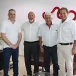 Presidente José Carlos Lyra e o presidente da Associação Comercial, Kennedy Calheiros, recebem o procurador-geral  José Alfredo Gaspar de Mendonça e o secretário municipal de Saúde José Thomáz de Nonô
