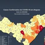 Mapa da pandemia do Covid 19 no Estado de Alagoas